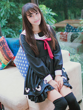 Lolitashow Sailor Lolita Dress Sweet Navy Blue Long Sleeves Lolita One-Piece Dress