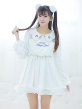 Lolitashow Sweet Lolita Dress Embroidered False Two-Piece Lolita Velvet Dress