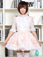 Lolitashow Cute Lolita Dress Sweet Pink Flower Printed  Qi Lolita Lace Trim Skirt With Suspender