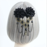 Lolitashow Gothic Lolita Headdress Black Flower Lolita Hairpin Decorated With Bead Chain