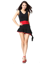 Anime Costumes AF-S2-618137 Black Dance Dress Women's Sleeveless Elastic Dance Costume Dress With Waist Band Asymmetric Bottom