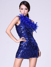 Anime Costumes AF-S2-618121 Sequin Dance Dress Feathers Off-Shoulder Women's Mini Costume Sexy Backless Dance Costume Dress