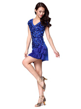Anime Costumes AF-S2-618113 Sequin Dance Dress Women's Cap Sleeeves V-Neck Fish Scales Edge Dance Costume Dress