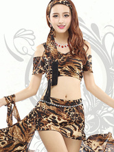 Anime Costumes AF-S2-618071 Belly Dance Costumes Leopard Print Women's Crop Top Off-Shoulder Two Pieces Dance Dress Sets With Asymmetric Bottom