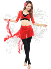 Anime Costumes AF-S2-618089 Belly Dance Costumes Women's Short Sleeve Modal Crop Top Dance Dress Sets With Asymmetric Skirt
