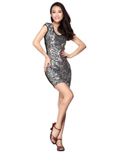 Anime Costumes AF-S2-618133 Sequin Dance Dress Sheath Bodycon Women's Sleeveless Short Dance Costume Dress