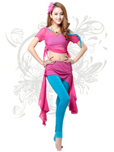 Anime Costumes AF-S2-618085 Belly Dance Costumes Women's Short Sleeve Crop Top Two-Tone Dance Dress Sets With Asymmetric Skirt