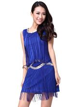 Anime Costumes AF-S2-618129 Tassel Dance Dress Sequin Women's Sleeveless Dance Costume Dress
