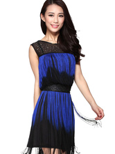 Anime Costumes AF-S2-618119 Tassel Dance Dress Two-Tone Women's Sleeveless Illusion Neck Rhinestone Dance Costume Dress