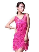 Anime Costumes AF-S2-618115 Sequin Dance Dress Backless Women's V-Neck Strapless Tassel Mini Dance Costume Dress