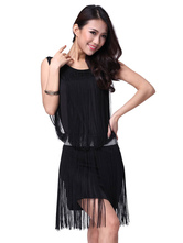 Anime Costumes AF-S2-618125 Black Dance Dress Women's Sleeveless Short Tassel Dance Costume Dress