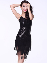 Anime Costumes AF-S2-618109 Sequin Dance Dress Backless Women's Strapless Tassel Dance Costume Dress With Asymmetric Bottom
