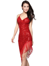 Anime Costumes AF-S2-618135 Sequin Dance Dress Backless Halter Sheath Women's Tassel Dance Costume Dress Asymmetric Latin Dress