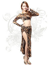Anime Costumes AF-S2-618095 Belly Dance Costume Women's Long Sleeve Leopard Print Off-the-Shoulder Bollywood Dance Dress in 2-piece