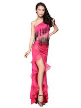 Anime Costumes AF-S2-618105 One-Shoulder Dance Dress Women's Two-Tone High Split Tassel Dance Costume Dress