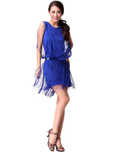Anime Costumes AF-S2-618117 Tassel Dance Dress Sleeveless Women's Sexy Short Blue Dance Costume Dress