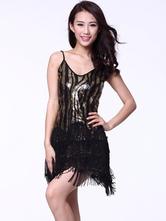 Anime Costumes AF-S2-618111 Sequin Dance Dress Backless Women's V-Neck Tassel Strapless Dance Costume Dress