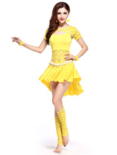 Anime Costumes AF-S2-618091 Belly Dance Costumes Women's Short Sleeve Keyhole Cut Out Two Pieces Dance Dress Sets With Asymmetric Bottom