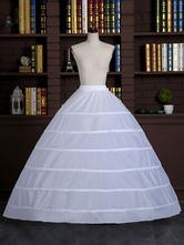 Falda larga blanca enagua vestido completo Slip poliéster 3 capas 6-aro