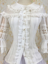 Sweet Lolita Clothing Chiffon Ruffle Milanoo Lolita Shirt Peter Pan Collar Lolita Blouse With Lace Trim