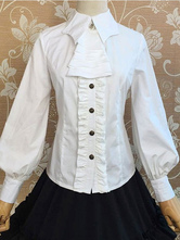 Lolitashow Gothic Lolita Clothing Long Sleeves Vintage Milanoo Lolita Blouse With Bat Collar