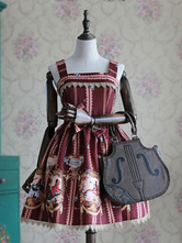 Milanoo Lolita Dress Big Bow Printed Lolita Dress Classical Lolita Jumper Skirt With Lace Trim