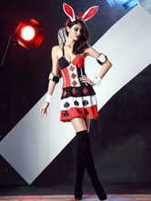 Anime Costumes AF-S2-622819 Sexy Halloween Costume Red Plunging Color Block Printed Bunny Costume