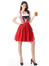 Anime Costumes AF-S2-622825 Sexy Beer Girl Costume Red Plaid Women's Beer Girl Dress