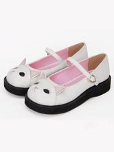 Lolitashow Sweet Lolita Shoes White Kitty Cute Mary Jane Lolita Paltform Shoes