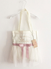 Sweet Lolita Bag Pink Ribbon Bow Tull Ruffle Lolita Tote Bag With Embroidered