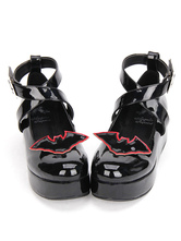 Gothic Lolita Shoes Black Platform Patent Leather Lolita Shoes Cross Ankle Strap Lolita Shoes With Bat Wing