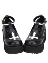 Lolitashow Gothic Lolita Schuhe Cross-Plattform Pumps Ankle Strap Gothic Lolita Schuhe mit Chunky Heel Pumps