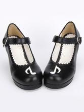 Gothic Lolita negro Platofrm sandalias blanco Cross hebilla de la correa de tobillo de impresión tTDfHeX