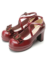 Classical Lolita Shoes Ribbon Bow Lolita Chunky Square Heels Shoes With Ankle Strap