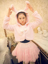 Sweet Lolita Jackets Pink Bunny Rabbits Ears Lolita Plush Hooded Jackets