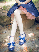 Classical Lolita Shoes Leather Ribbon Bow Lolita Low Heel Ballet Shoes With Ankle Strap