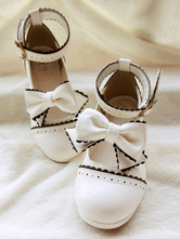Sweet Lolita Shoes White Bow Mary Jane Low Heel Lolita Shoes With Ankle Strap