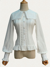 Lolitashow Gothic Lolita Top Lace Chiffon Long Sleeves Lolita Blouse With Square Collar