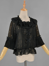 Gothic Lolita Shirt Lace Ruffled Chiffon Constellation Printed Gothic Lolita Blouse