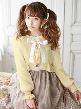 Sweet Lolita Clothing White Bow Chiffon Ruffle Short Lolita Cardigan