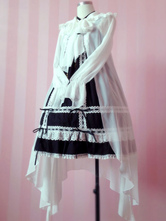 Lolitashow Sweet Lolita Clothing White Big Bow Chiffon Long Lolita Hooded Cardigan With Flare Sleeves