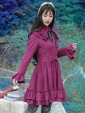 Lolitashow Gothic Lolita Dress Vintage Bow Burgundy Ruffled Elegant Gothic Lolita Dresses Imitation Suede Milanoo Gothic Lolita Dress With Flare Sleeves