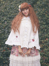 Sweet Lolita Clothing White Bows Lace Embroidered Milanoo Lolita Coat Ruffled Woolen Lolita Cloak