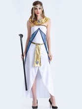 Anime Costumes AF-S2-626355 Egyptian Costumes For Women Strapless Color Block Split Front Dress
