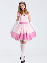 Anime Costumes AF-S2-626335 Pink Super Mario Bros Skater Dress Costume