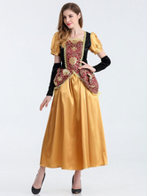 Anime Costumes AF-S2-626329 Halloween Vintage Costume Yellow Short Sleeve Slim Fit Dress With Armwear