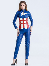 Anime Costumes AF-S2-626309 Halloween Costumes Captain America Women's Blue Outfit Cosplay With Sash