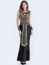 Anime Costumes AF-S2-626353 Halloween Egyptian Women's Sets Black Semi-sheer Maxi Dress