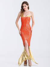 Anime Costumes AF-S2-626227 Halloween Costume Sexy Mermaid Women's Orange Long Bodycon Dress