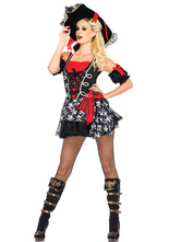 Anime Costumes AF-S2-626223 Sexy Halloween Costume Pirate Women's Black Short Dess With Hat & Armwear